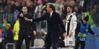 TURIN, ITALY - MARCH 12: Head coach Massimiliano Allegri of Juventus issues instructions during the UEFA Champions League Round of 16 Second Leg match between Juventus and Club de Atletico Madrid at Allianz Stadium on March 12, 2019 in Turin, . (Photo by Tullio M. Puglia/Getty Images)
