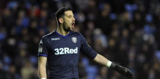 READING, ENGLAND - MARCH 12: Kiko Casilla of Leeds United gives his team instructions during the Sky Bet Championship match between Reading and Leeds United at Madejski Stadium on March 12, 2019 in Reading, England. (Photo by Alex Burstow/Getty Images)