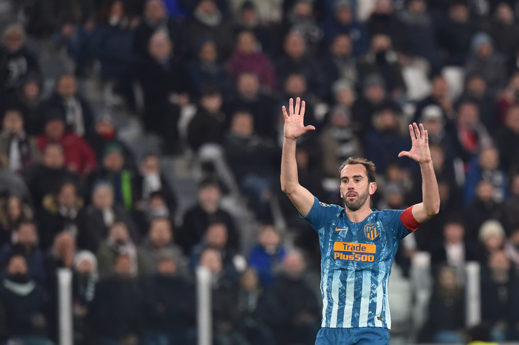 TURIN, ITALY - MARCH 12: Diego Godin of Atletico Madrid gestures during the UEFA Champions League Round of 16 Second Leg match between Juventus and Club de Atletico Madrid at Allianz Stadium on March 12, 2019 in Turin, . (Photo by Tullio M. Puglia/Getty Images)