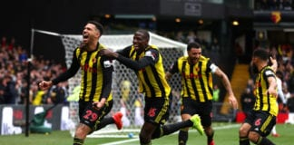WATFORD, ENGLAND - MARCH 16: Etienne Capoue of Watford celebrates with teammates after scoring his team's first goal during the FA Cup Quarter Final match between Watford and Crystal Palace at Vicarage Road on March 16, 2019 in Watford, England. (Photo by Dan Istitene/Getty Images)