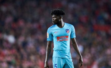 BILBAO, SPAIN - MARCH 16: Thomas Teye Partey of Atletico Madrid reacts during the La Liga match between Athletic Club and Club Atletico de Madrid at San Mames Stadium on March 16, 2019 in Bilbao, Spain. (Photo by Juan Manuel Serrano Arce/Getty Images)