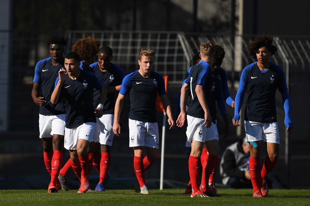 NARBONNE, FRANCE - MARCH 20: Yanis Begraoui of France U18 celebrates after scoring his team's first goal during a friendly match between France U18 and Germany U18 at Parc des Sports et de l'Amitie on March 20, 2019 in Narbonne, France. (Photo by David Ramos/Getty Images for DFB)