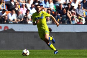 UDINE, ITALY - APRIL 20: Domenico Berardi of Sassuolo in action during the Serie A match between Udinese and US Sassuolo at Stadio Friuli on April 20, 2019 in Udine, Italy. (Photo by Alessandro Sabattini/Getty Images)