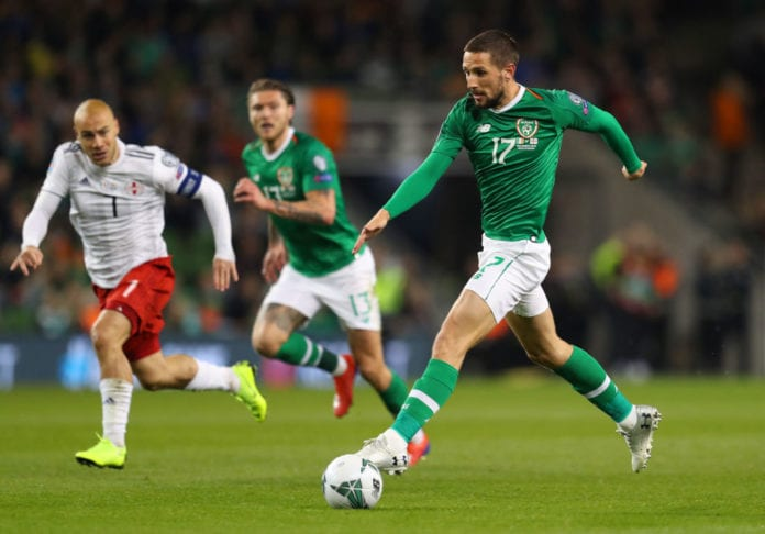 DUBLIN, IRELAND - MARCH 26: Conor Hourihane of Republic of Ireland during the 2020 UEFA European Championships group D qualifying match between Republic of Ireland and Georgia at Aviva Stadium on March 26, 2019 in Dublin, Ireland. (Photo by Catherine Ivill/Getty Images)