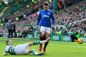 GLASGOW, SCOTLAND - MARCH 31: Mikael Lustig of Celtic tackles during the Ladbrokes Scottish Premiership match between Celtic and Rangers at Celtic Park on March 31, 2019 in Glasgow, Scotland. (Photo by Mark Runnacles/Getty Images)
