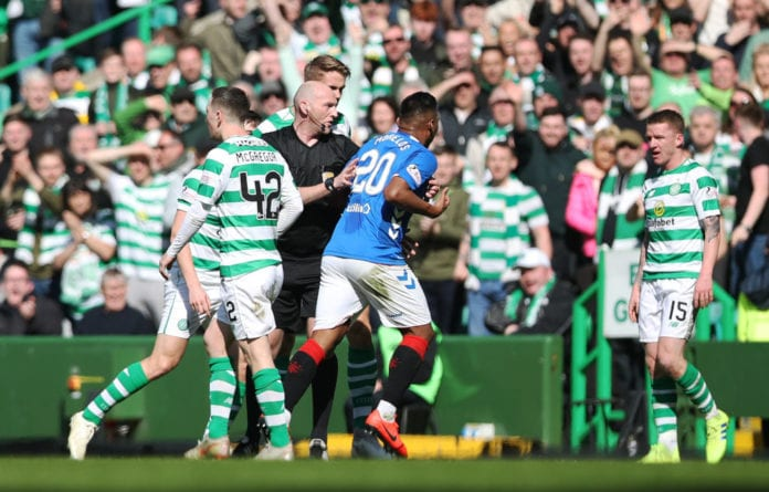 GLASGOW, SCOTLAND - MARCH 31: Alfredo Morelos of Rangers is red carded during the Ladbrokes Premier League match between Celtic and Rangers at Celtic Park on March 31, 2019 in Glasgow, Scotland. (Photo by Ian MacNicol/Getty Images)