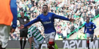 GLASGOW, SCOTLAND - MARCH 31: Ryan Kent of Rangers celebrates after he scores during The Ladbrokes Scottish Premier League match between Celtic and Rangers at Celtic Park on March 31, 2019 in Glasgow, Scotland. (Photo by Ian MacNicol/Getty Images
