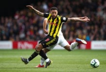 WATFORD, ENGLAND - APRIL 27: Andre Gray of Watford during the Premier League match between Watford FC and Wolverhampton Wanderers at Vicarage Road on April 27, 2019 in Watford, United Kingdom. (Photo by Marc Atkins/Getty Images)