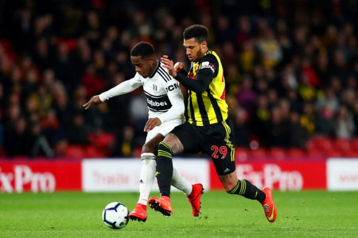 WATFORD, ENGLAND - APRIL 02: Ryan Sessegnon of Fulham battles for the ball with Etienne Capoue of Watford during the Premier League match between Watford FC and Fulham FC at Vicarage Road on April 02, 2019 in Watford, United Kingdom. (Photo by Dan Istitene/Getty Images)