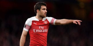LONDON, ENGLAND - MAY 02: Sokratis Papastathopoulos of Arsenal reacts during the UEFA Europa League Semi Final First Leg match between Arsenal and Valencia at Emirates Stadium on May 2, 2019 in London, England. (Photo by Justin Setterfield/Getty Images,)