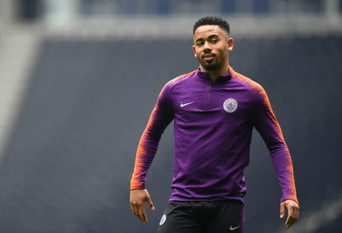 LONDON, ENGLAND - APRIL 08: Gabriel Jesus of Manchester City during a Manchester City training session ahead of their UEFA Champions League quarter-final match against Tottenham Hotspur. At Tottenham Hotspur Stadium on April 08, 2019 in London, England. (Photo by Dan Mullan/Getty Images)