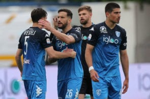 EMPOLI, ITALY - MAY 05: Frederic Veseli and Matias Silvestre of Empoli FC celebrates the victory after during the Serie A match between Empoli and ACF Fiorentina at Stadio Carlo Castellani on May 5, 2019 in Empoli, Italy. (Photo by Gabriele Maltinti/Getty Images)