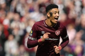 GLASGOW, SCOTLAND - APRIL 13: Sean Clare of Heart of Midlothian celebrates after he scores his side's third goal during the William Hill Scottish Cup semi final between Hearts of Midlothian and Inverness Caledonian Thistle at Hampden Park on April 13, 2019 in Glasgow, Scotland. (Photo by Ian MacNicol/Getty Images)