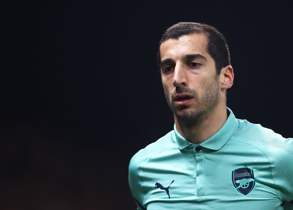 WATFORD, ENGLAND - APRIL 15: Henrikh Mkhitaryan of Arsenal looks on during the Premier League match between Watford FC and Arsenal FC at Vicarage Road on April 15, 2019 in Watford, United Kingdom. (Photo by Julian Finney/Getty Images)