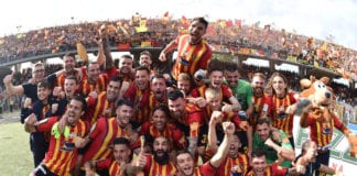 LECCE, ITALY - MAY 11: Players of US Lecce celebrate second place in the Serie B championship and promotion in the Serie A championship after the Serie B match between US Lecce and AC Spezia at Stadio Via del Mare on May 12, 2019 in Lecce, Italy. (Photo by Giuseppe Bellini/Getty Images for Lega B)