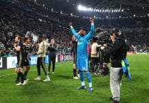 TURIN, ITALY - APRIL 16: Andre Onana of Ajax celebrates victory after the UEFA Champions League Quarter Final second leg match between Juventus and Ajax at Allianz Stadium on April 16, 2019 in Turin, Italy. (Photo by Michael Steele/Getty Images)