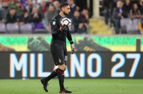 FLORENCE, ITALY - MAY 11: Gianluigi Donnarumma of AC Milan in action during the Serie A match between ACF Fiorentina and AC Milan at Stadio Artemio Franchi on May 11, 2019 in Florence, Italy. (Photo by Gabriele Maltinti/Getty Images)