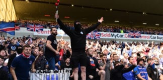 GLASGOW, SCOTLAND - MAY 12: Rangers fans make some noise at Ibrox Stadium during the Ladbrokes Scottish Premiership match between Rangers and Celtic at Ibrox Stadium on May 12, 2019 in Glasgow, Scotland. (Photo by Mark Runnacles/Getty Images)