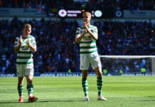 GLASGOW, SCOTLAND - MAY 12: Kristoffer Ajer and Jonny Hayes of Celtic applaud the Celtic fans at the final whistle during the Ladbrokes Scottish Premiership match between Rangers and Celtic at Ibrox Stadium on May 12, 2019 in Glasgow, Scotland. (Photo by Mark Runnacles/Getty Images)