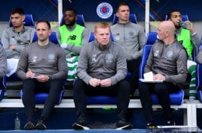 GLASGOW, SCOTLAND - MAY 12: Neil Lennon, manager of Celtic, looks on from the dugout during the Ladbrokes Scottish Premiership match between Rangers and Celtic at Ibrox Stadium on May 12, 2019 in Glasgow, Scotland. (Photo by Mark Runnacles/Getty Images)