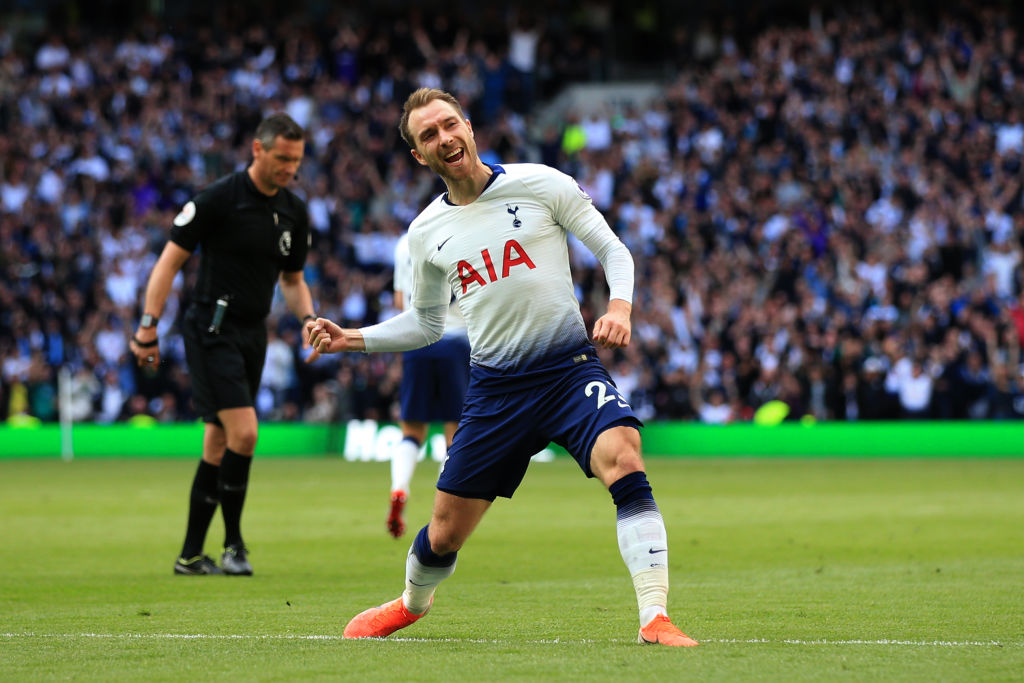 Christian Eriksen topped the Premier League midfield charts