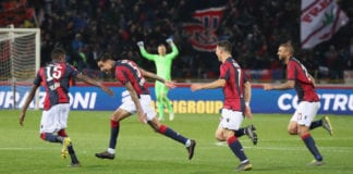 BOLOGNA, ITALY - MAY 13: Erik Pulgar of Bologna celebrates after scoring his team's second goal during the Serie A match between Bologna FC and Parma Calcio at Stadio Renato Dall'Ara on May 13, 2019 in Bologna, Italy. (Photo by Maurizio Lagana/Getty Images)