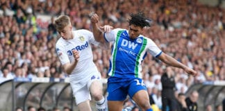 LEEDS, ENGLAND - APRIL 19: Jack Clarke of Leeds United and Reece James of Wigan Athletic compete for the ball during the Sky Bet Championship between Leeds United and Wigan Athletic at Elland Road on April 19, 2019 in Leeds, England. (Photo by George Wood/Getty Images)