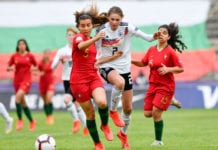DOBRICH, BULGARIA - MAY 14: Jule Brand of Germany battles for the ball with Alicia Correia of Portugal during the 2019 UEFA Women's Under-17 EURO semi-final match between Germany and Portugal at Stadion Drujba on May 14, 2019 in Dobrich near Varna, Bulgaria. (Photo by Nikolay Doychinov/Getty Images)