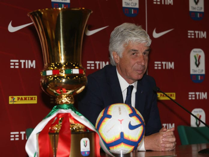 ROME, ITALY - MAY 14: Atalanta BC head coach Gian Piero Gasperini attends the Tim Cup Final press conference at Stadio Olimpico on May 14, 2019 in Rome, Italy. (Photo by Paolo Bruno/Getty Images for Lega Serie A)