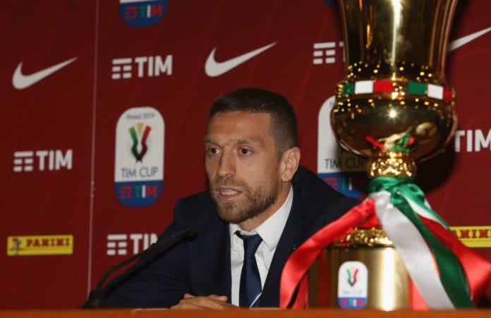 ROME, ITALY - MAY 14: Alejandro Gomez of Atalanta BC attends the Tim Cup Final press conference at Stadio Olimpico on May 14, 2019 in Rome, Italy. (Photo by Paolo Bruno/Getty Images for Lega Serie A)