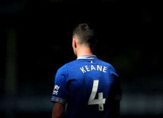 LIVERPOOL, ENGLAND - APRIL 21: Michael Keane of Everton FC looks on during the Premier League match between Everton FC and Manchester United at Goodison Park on April 21, 2019 in Liverpool, United Kingdom. (Photo by Alex Livesey/Getty Images)