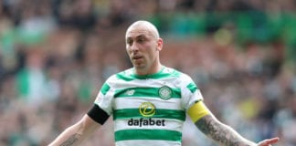 GLASGOW, SCOTLAND - APRIL 27: Scott Brown of Celtic reacts during the Ladbrokes Scottish Premiership match between Celtic and Kilmarnock at Celtic Park on April 27, 2019 in Glasgow, Scotland. (Photo by Ian MacNicol/Getty Images)