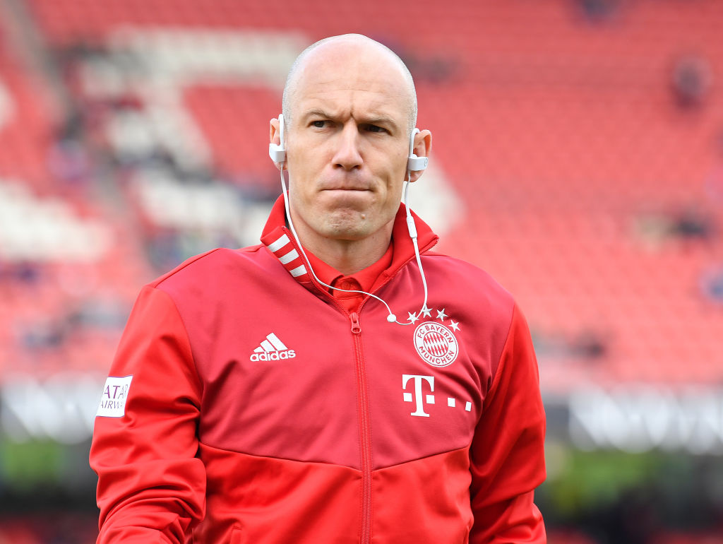 NUREMBERG, GERMANY - APRIL 28: Arjen Robben of Muenchen arrives prior to the Bundesliga match between 1. FC Nuernberg and FC Bayern Muenchen at Max-Morlock-Stadion on April 28, 2019 in Nuremberg, Germany. (Photo by Sebastian Widmann/Bongarts/Getty Images)