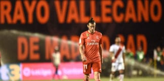 MADRID, SPAIN - APRIL 28: Gareth Bale of Real Madrid looks on during the La Liga match between Rayo Vallecano de Madrid and Real Madrid CF at Campo de Futbol de Vallecas on April 28, 2019 in Madrid, Spain. (Photo by Denis Doyle/Getty Images)