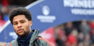 NUREMBERG, GERMANY - APRIL 28: Serge Gnabry of Bayern Munich looks on prior to the Bundesliga match between 1. FC Nuernberg and FC Bayern Muenchen at Max-Morlock-Stadion on April 28, 2019 in Nuremberg, Germany. (Photo by Sebastian Widmann/Bongarts/Getty Images)