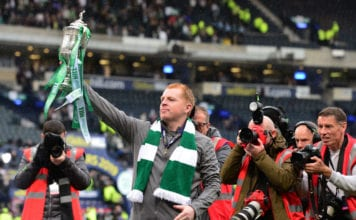 GLASGOW, SCOTLAND - MAY 25: Neil Lennon, manager of Celtic poses with the Scottish Cup at the final whistle during the Scottish Cup Final between Heart of Midlothian FC and Celtic FC at Hampden Park on May 25, 2019 in Glasgow, Scotland. (Photo by Mark Runnacles/Getty Images)