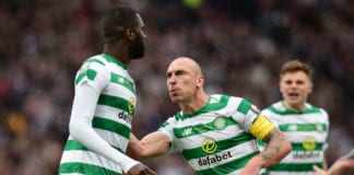GLASGOW, SCOTLAND - MAY 25: Odsonne Edouard of Celtic celebrates Scoring his first goal of the game with team mate Scott Brown during the Scottish Cup Final between Heart of Midlothian FC and Celtic FC at Hampden Park on May 25, 2019 in Glasgow, Scotland. (Photo by Mark Runnacles/Getty Images)