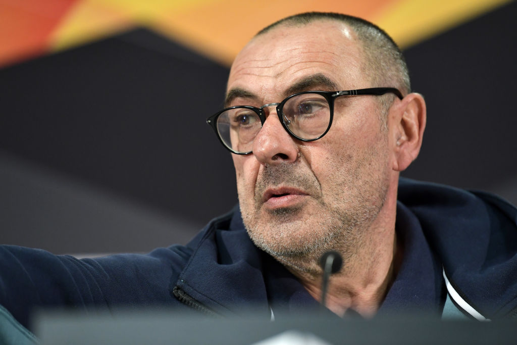 FRANKFURT AM MAIN, GERMANY - MAY 01: Maurizio Sarri, Manager of Chelsea speaks to the media during a Chelsea press conference ahead of the UEFA Europa League semi-final second leg match between Chelsea and Eintracht Frankfurt on May 02 2019 at Commerzbank-Arena on May 01, 2019 in Frankfurt am Main, Germany. (Photo by Alexander Scheuber/Getty Images)
