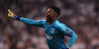 LONDON, ENGLAND - APRIL 30: Andre Onana of Ajax celebrates during the UEFA Champions League Semi Final first leg match between Tottenham Hotspur and Ajax at at the Tottenham Hotspur Stadium on April 30, 2019 in London, England. (Photo by Shaun Botterill/Getty Images)