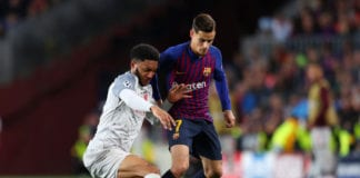 BARCELONA, SPAIN - MAY 01: Joe Gomez of Liverpool battles for possession with Philippe Coutinho of Barcelona during the UEFA Champions League Semi Final first leg match between Barcelona and Liverpool at the Nou Camp on May 01, 2019 in Barcelona, Spain. (Photo by Catherine Ivill/Getty Images)