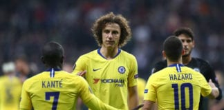 FRANKFURT AM MAIN, GERMANY - MAY 02: David Luiz of Chelsea shakes hands with team mates N'golo Kante and Eden Hazard the UEFA Europa League Semi Final First Leg match between Eintracht Frankfurt and Chelsea at Commerzbank-Arena on May 02, 2019 in Frankfurt am Main, Germany. (Photo by Martin Rose/Bongarts/Getty Images,)