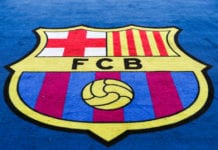 BARCELONA, SPAIN - MAY 01: The Barcelona club crest during the UEFA Champions League Semi Final first leg match between Barcelona and Liverpool at the Nou Camp on May 01, 2019 in Barcelona, Spain. (Photo by Catherine Ivill/Getty Images)