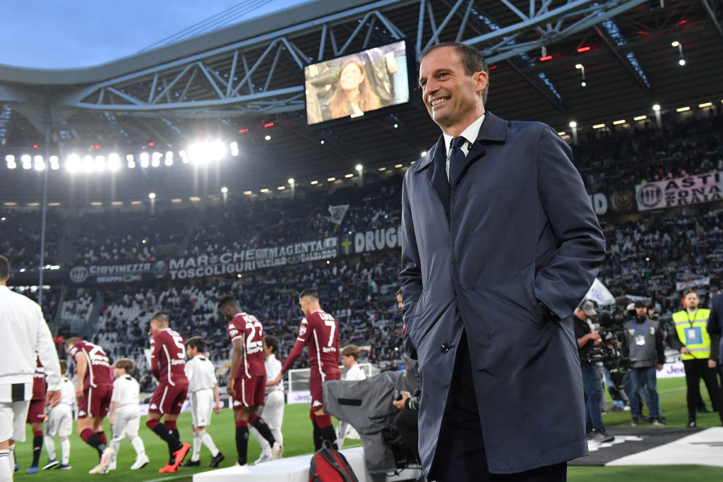TURIN, ITALY - MAY 03: Head coach Massimiliano Allegri of Juventus looks on during the Serie A match between Juventus and Torino FC on May 03, 2019 in Turin, Italy. (Photo by Tullio M. Puglia/Getty Images)