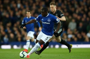 LIVERPOOL, ENGLAND - MAY 03: Kurt Zouma of Everton battles for possession with Ashley Barnes of Burnley during the Premier League match between Everton FC and Burnley FC at Goodison Park on May 03, 2019 in Liverpool, United Kingdom. (Photo by Clive Brunskill/Getty Images)