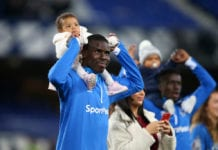 LIVERPOOL, ENGLAND - MAY 03: Kurt Zouma of Everton acknowledges the fans with his child following his team's victory in the Premier League match between Everton FC and Burnley FC at Goodison Park on May 03, 2019 in Liverpool, United Kingdom. (Photo by Alex Livesey/Getty Images)