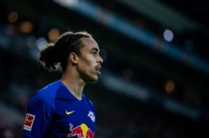 MAINZ, GERMANY - MAY 03: Yussuf Poulsen of Leipzig looks onduring the Bundesliga match between 1. FSV Mainz 05 and RB Leipzig at Opel Arena on May 03, 2019 in Mainz, Germany. (Photo by Simon Hofmann/Bongarts/Getty Images)