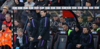 BOURNEMOUTH, ENGLAND - MAY 04: Mauricio Pochettino, Manager of Tottenham Hotspur reacts during the Premier League match between AFC Bournemouth and Tottenham Hotspur at Vitality Stadium on May 04, 2019 in Bournemouth, United Kingdom. (Photo by Warren Little/Getty Images)