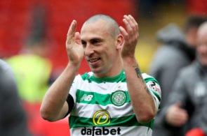ABERDEEN, SCOTLAND - MAY 04: Scott Brown of Celtic celebrates as his side secured the Ladbrokes Scottish Premiership title after the Ladbrokes Scottish Premiership match between Aberdeen and Celtic at Pittodrie Stadium on May 04, 2019 in Aberdeen, Scotland. (Photo by Ian MacNicol/Getty Images)
