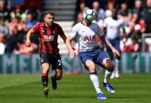 BOURNEMOUTH, ENGLAND - MAY 04: Toby Alderweireld of Tottenham Hotspur holds off Ryan Fraser of Bournemouth during the Premier League match between AFC Bournemouth and Tottenham Hotspur at Vitality Stadium on May 04, 2019 in Bournemouth, United Kingdom. (Photo by Justin Setterfield/Getty Images)