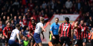 BOURNEMOUTH, ENGLAND - MAY 04: Referee, Craig Pawson reacts as Eric Dier of Tottenham Hotspur and Ryan Fraser of Bournemouth question his decision during the Premier League match between AFC Bournemouth and Tottenham Hotspur at Vitality Stadium on May 04, 2019 in Bournemouth, United Kingdom. (Photo by Justin Setterfield/Getty Images)